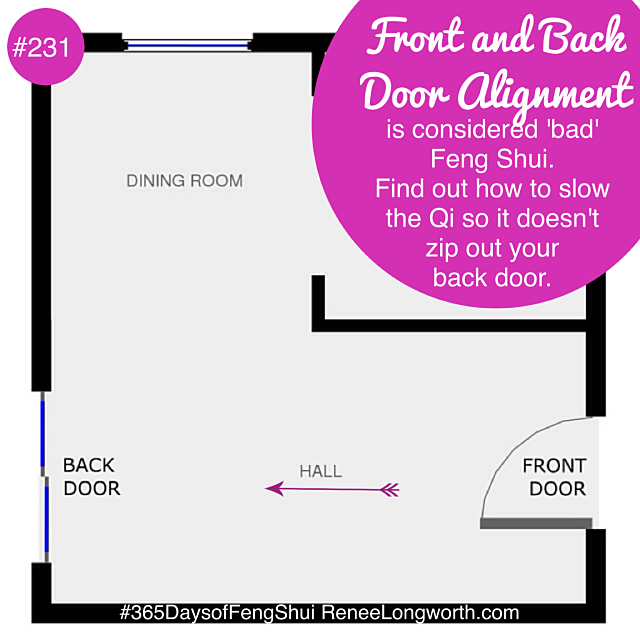 how to slow down the qi when you have a front and back door alignment. Black Bedroom Furniture Sets. Home Design Ideas